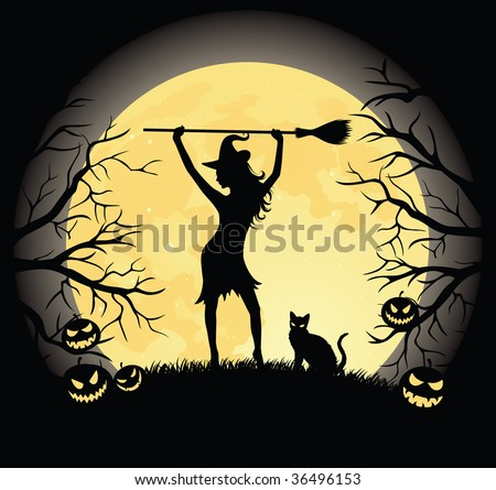 Silhouette of a witch with a broom and a cat standing on a hill. Full moon, trees and pumpkins on the background.