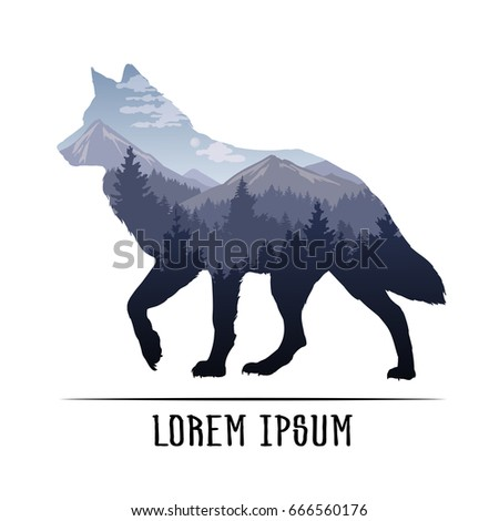 Silhouette of a wolf and wildlife. Vector illustration with mountain landscape. Double exposure with forest and mountain landscape.