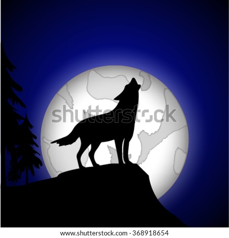 silhouette of a wolf in the