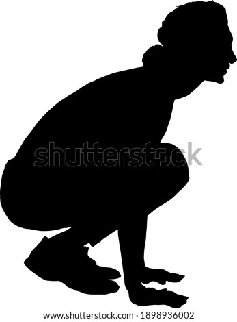 Silhouette of a woman crouching to her knee. Vector illustration. Сток-фото ©
