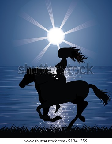 silhouette of a woman riding a
