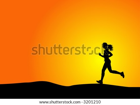 silhouette of a woman running with sunset