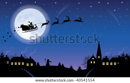 Silhouette of a woman santa on a sledge harnessed by magic deers flying over a village with gifts flying off. Full moon and stars on the background.