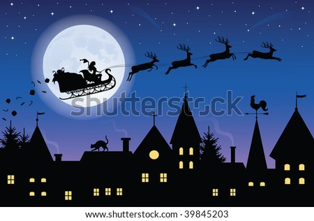 Silhouette Of A Woman Santa On A Sledge Harnessed By Magic