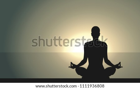 Silhouette Of A Woman Sitting In Yoga Pose Young Sits And Meditating On