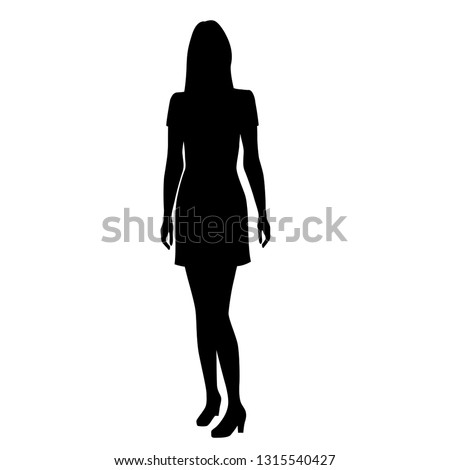 Silhouette of a woman standing in a summer dress, 