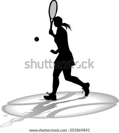 Silhouette of a woman tennis player with shadow; on top of the shadow of a tennis ball.