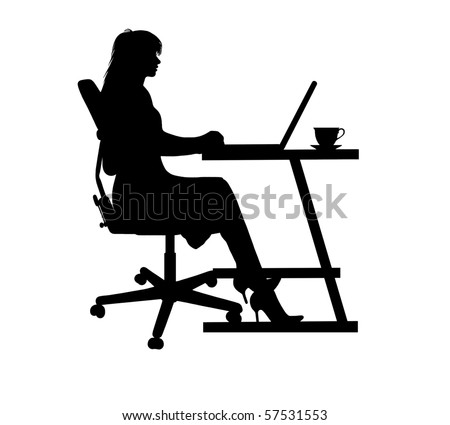 silhouette of a woman typing at a laptop