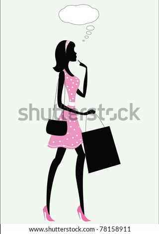 silhouette of a woman with speech bubble, vintage style - stock vector