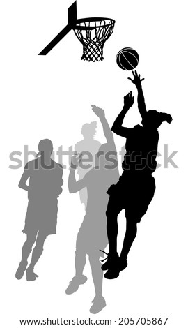 Silhouette of a women\'s basketball layup with gray scale defensive players