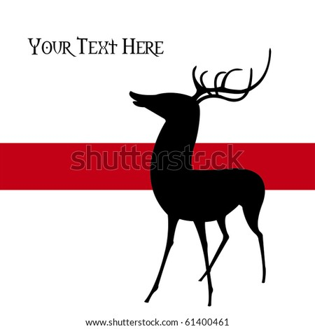 Silhouette of a young deer against a red stripe over a white background, vector, illustration.  This graphic is perfect for holiday-themed projects.