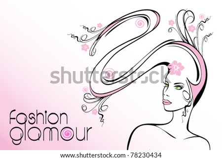 Silhouette of a young girl with long hair. Female background fashion glamour. Shine illustration girl