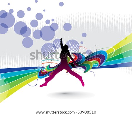 silhouette of a young happy man jumping with abstract design elements. Vector illustration