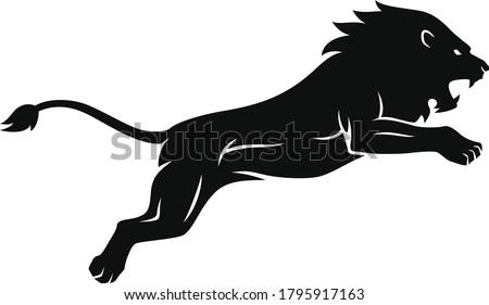silhouette of aggressive lion