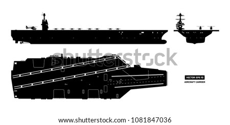 silhouette of aircraft carrier