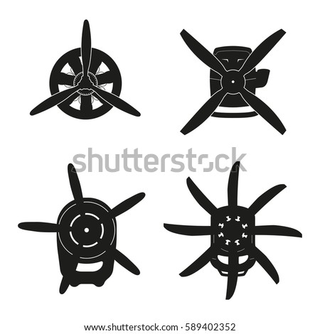 Silhouette of aircraft engine . Black drawing of motor with propeller on white background. Vector illustration