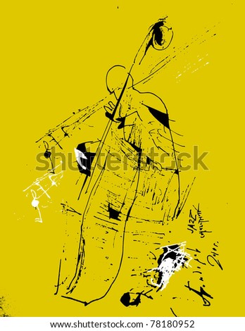 Silhouette of an acoustic jazz bass player