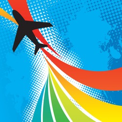 Silhouette of an airplane flying over an abstract rainbow colored backdrop with splattered halftone accents.