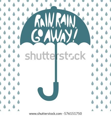 Silhouette of an open umbrella, fall drop, inscription