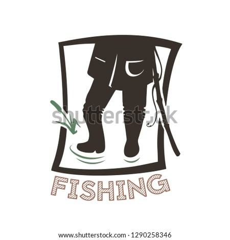 Silhouette of angle. Vector illustration icon. Logo of the fishing shop.