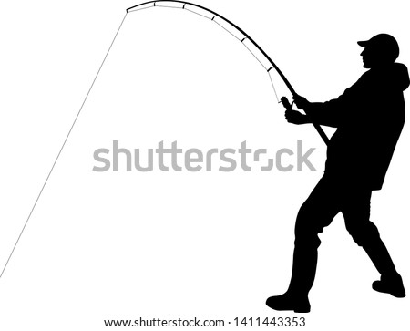 silhouette of angler with fishing rod  ストックフォト ©