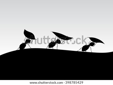 silhouette of ants three ants
