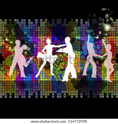 silhouette of ballroom dancing