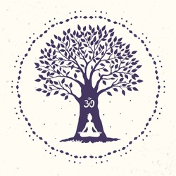 Silhouette of beautiful and amazing big tree with woman sit in Lotus pose. Practicing yoga. Vector illustration.