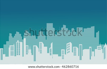 Silhouette of beautiful buildings scenery vector art
