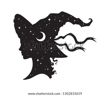 Silhouette of beautiful curly witch girl in pointy hat with crescent moon and stars in profile isolated hand drawn vector illustration Сток-фото ©