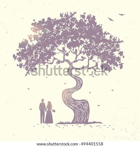 silhouette of beautiful tree