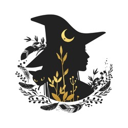 Silhouette of beautiful young witch with moon and wild herbs. Vector illustration