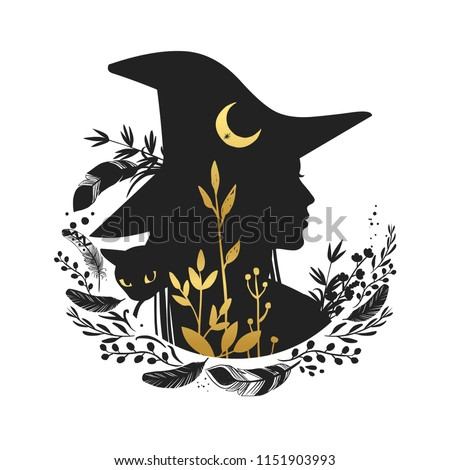 Silhouette of beautiful young witch with moon and wild herbs. Vector illustration Сток-фото ©