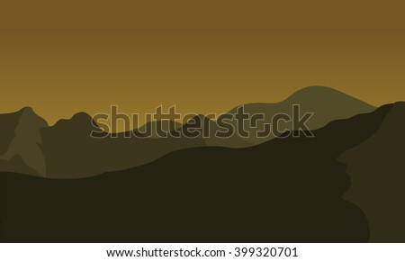 silhouette of big mountain at