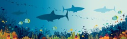 Silhouette of big sharks, beautiful coral reef and tropical fishes in a blue sea background. Vector panoramic illustration. Underwater nature and marine wildlife.