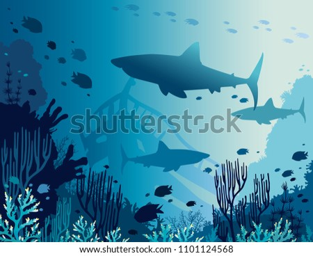 Silhouette of big sharks, coral reef and tropical fishes in a blue sea background. Vector illustration. Underwater nature and marine wildlife.