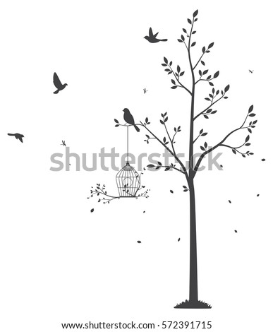 silhouette of birds with tree