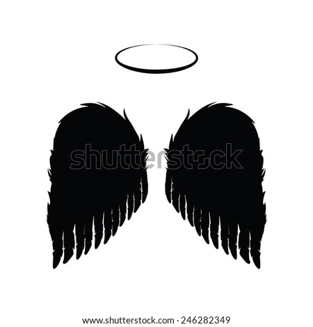silhouette of black angel wings