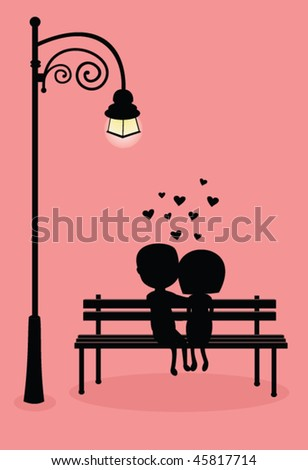 stock vector : silhouette of boy and girl hugging under the light of