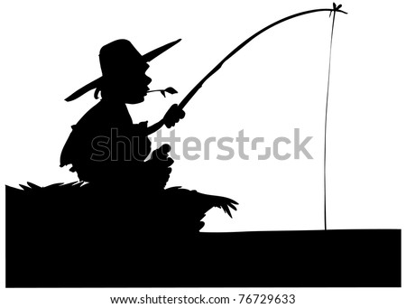 Silhouette of boy fishing. Isolated on white