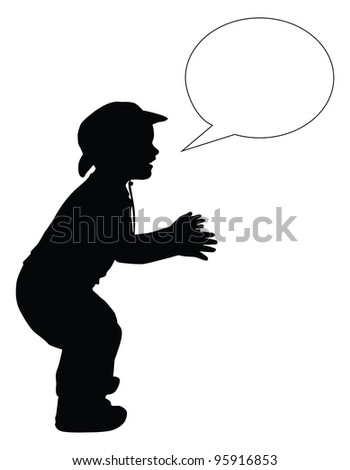 Silhouette of boy in cowboy hat with speech bubble. Vector eps8