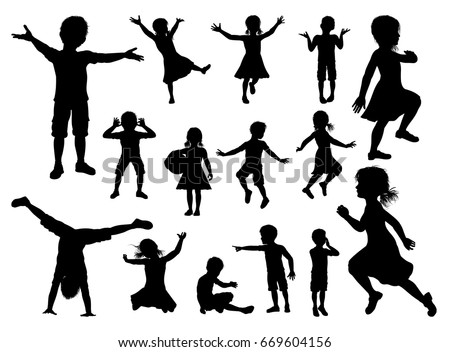 silhouette of boys and girls