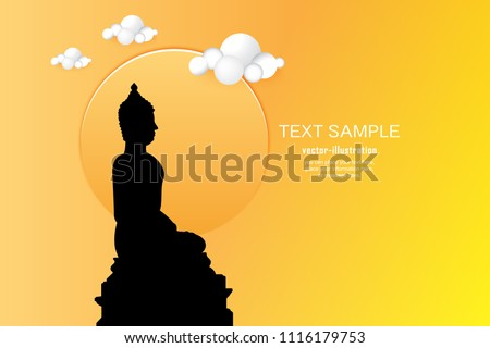 silhouette of buddha statue on
