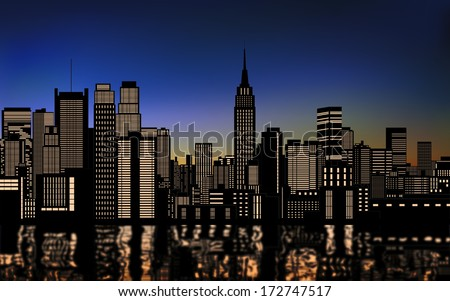 silhouette of buildings in new