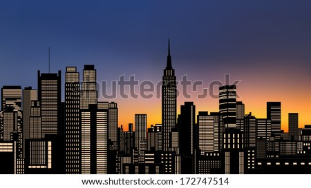 silhouette of buildings in new...