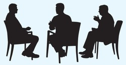 Silhouette of Business Men Having Discussion