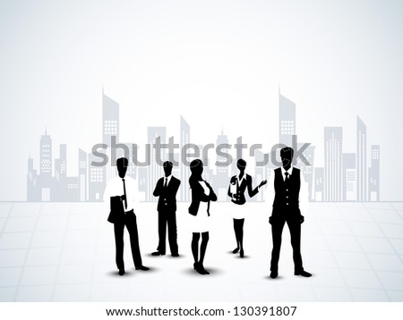 Silhouette of business persons on abstract urban city background. EPS 10.