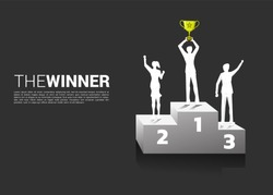 Silhouette of businessman and businesswoman with champion trophy on podium. Business Concept of winner and success
