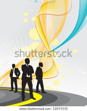 silhouette of businessman on the road and look to the future, vector illustration