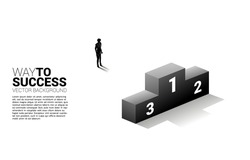 Silhouette of businessman standing with podium. Business Concept of winner and success